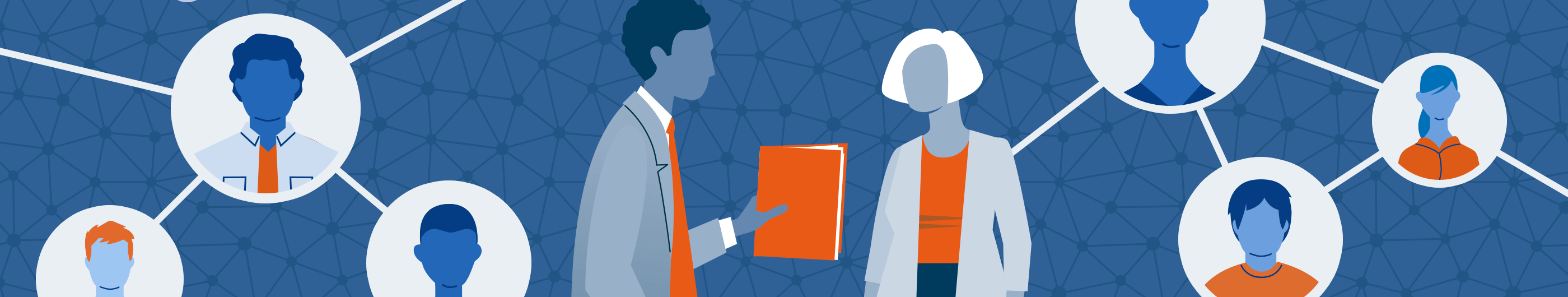 illustration of man holding book and talk to woman on blue background