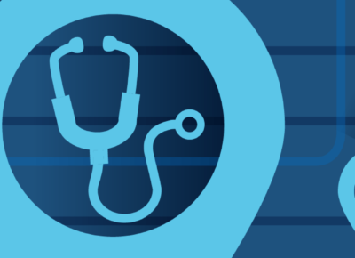 illustration of stethoscope on blue background