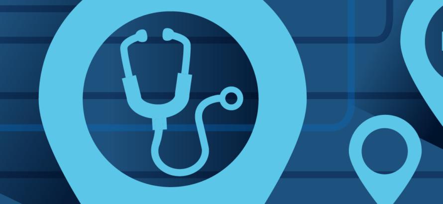 illustration of stethoscope on blue background